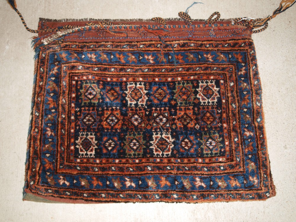 antique south west persian saddle bag with plain weave back possibly afshar circa 1900