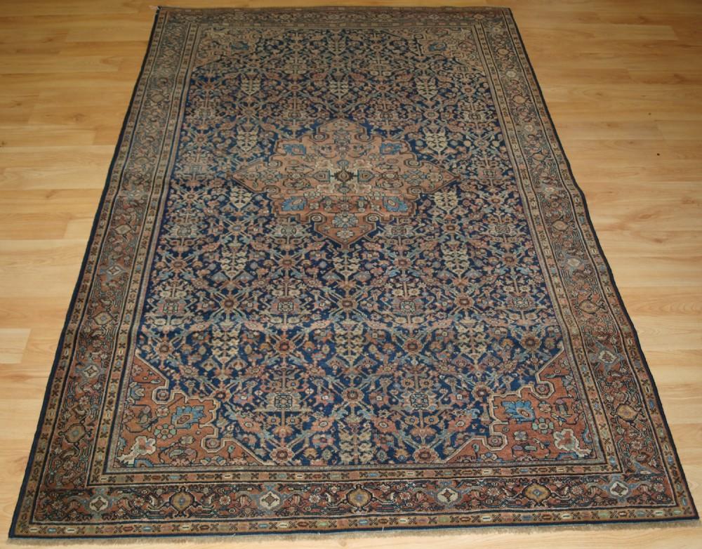 antique persian faraghan rug of classic garden shrub design 4th quarter 19th century