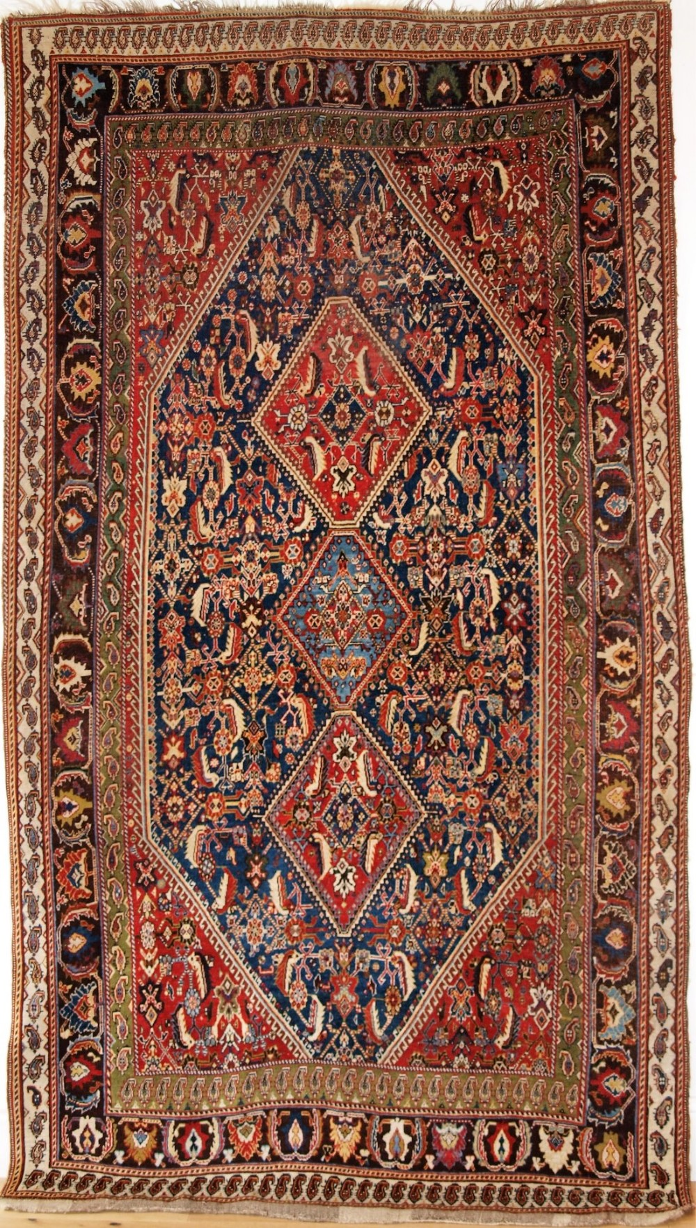 antique south west persian qashqai kashkuli rug with triple medallion design circa 1880