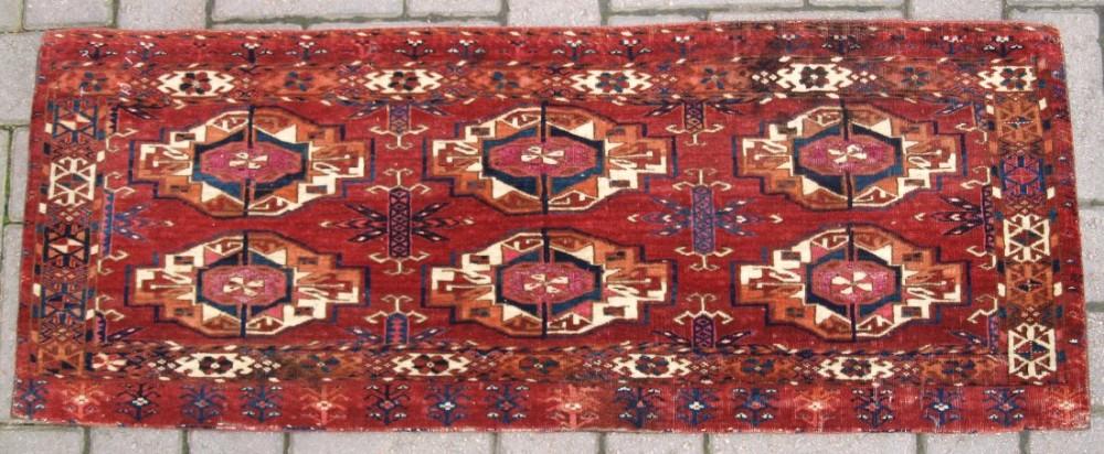 antique tekke turkmen 6 gul torba silk to gul centers very fine circa 1850