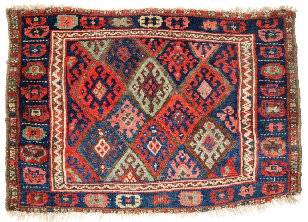 antique north persian jaf kurd bag face pleasing soft colours circa 1900