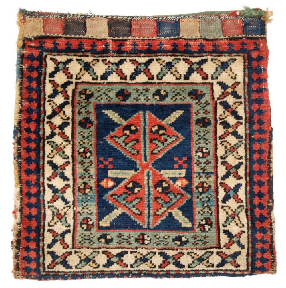 antique north west persian kurdish bag complete with back circa 1920