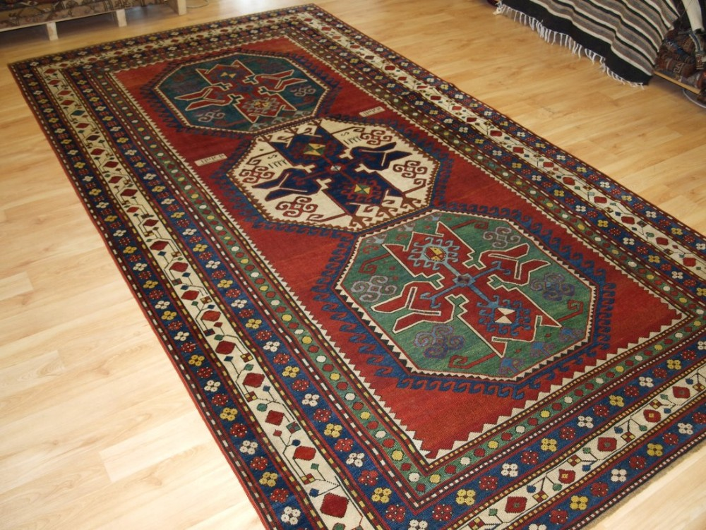 antique caucasian lori pambak rug dated outstanding colours bold design circa 1900