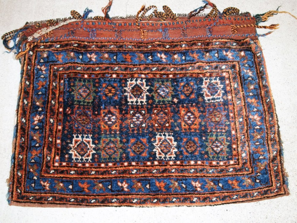 antique south west persian saddle bag with plain weave back possibly afshar circa 1900 one of a pair