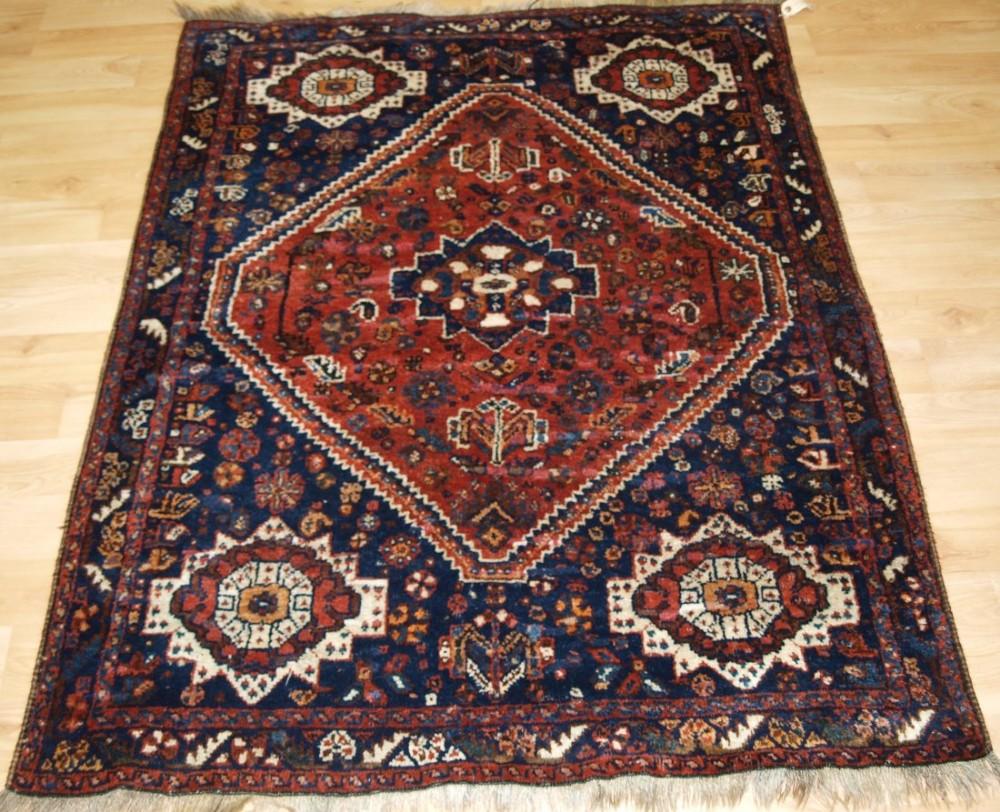 old shiraz region rug qashqai or khamseh weavers traditional design circa 1920