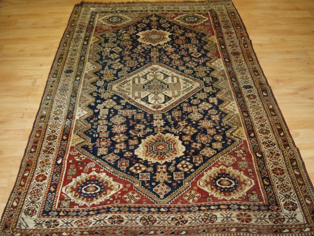 antique south west persian tribal qashqai rug medallion design faded look late 19th century