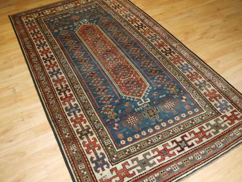 antique south caucasian kazak rug very soft colours circa 1900