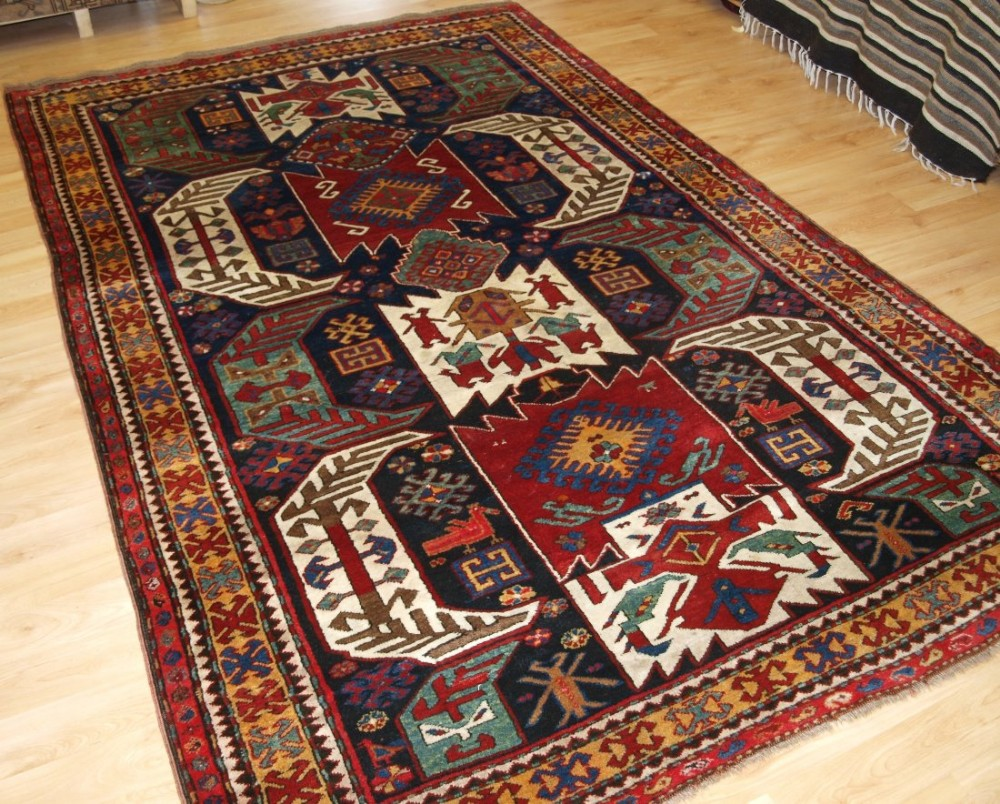 antique caucasian kasim ushak or lenkoran kazak rug full pile superb colour circa 1900