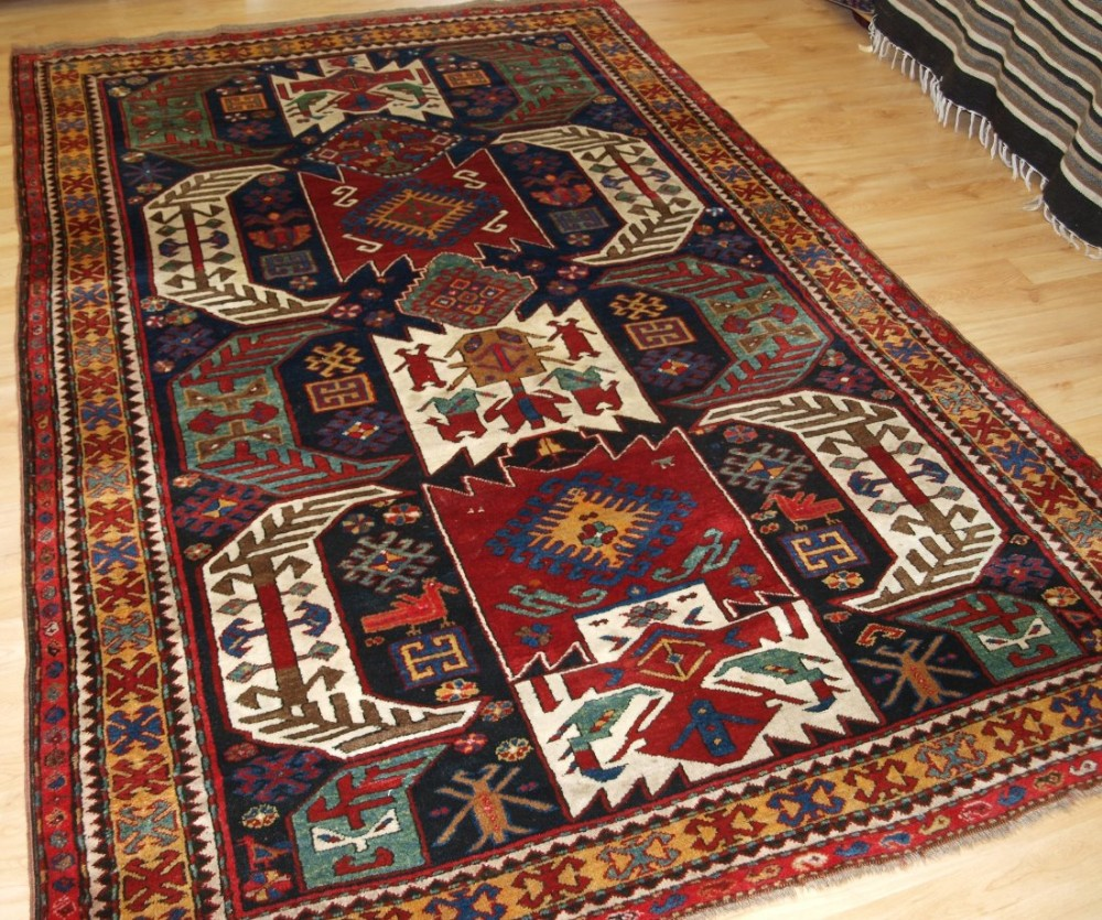 Caucasian Rugs Uk: Antique Caucasian Kasim Ushak Or Lenkoran Kazak Rug, Full