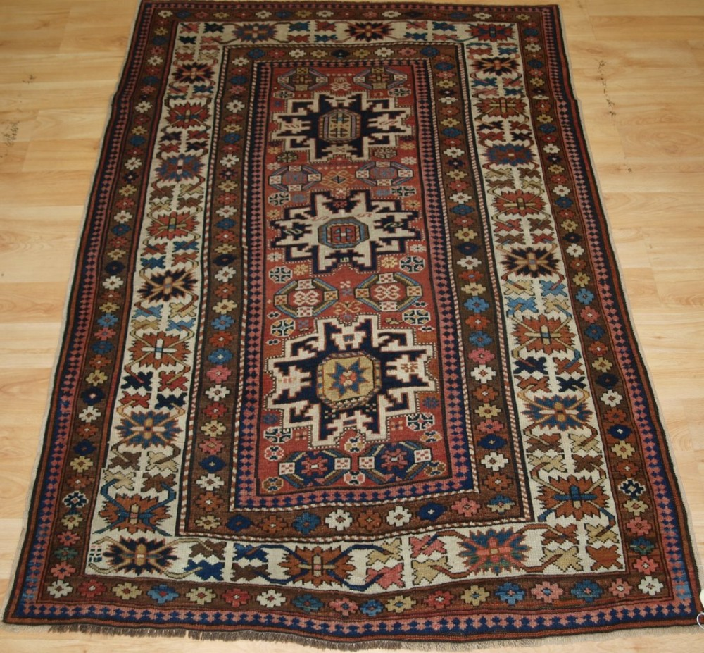 antique caucasian rug with 'leshgi star' design superb small rug late 19th century