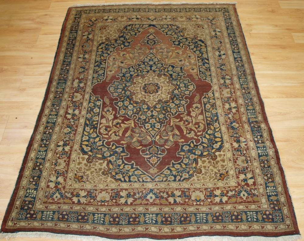 antique persian tabriz rug with medallion good old colours circa 1900
