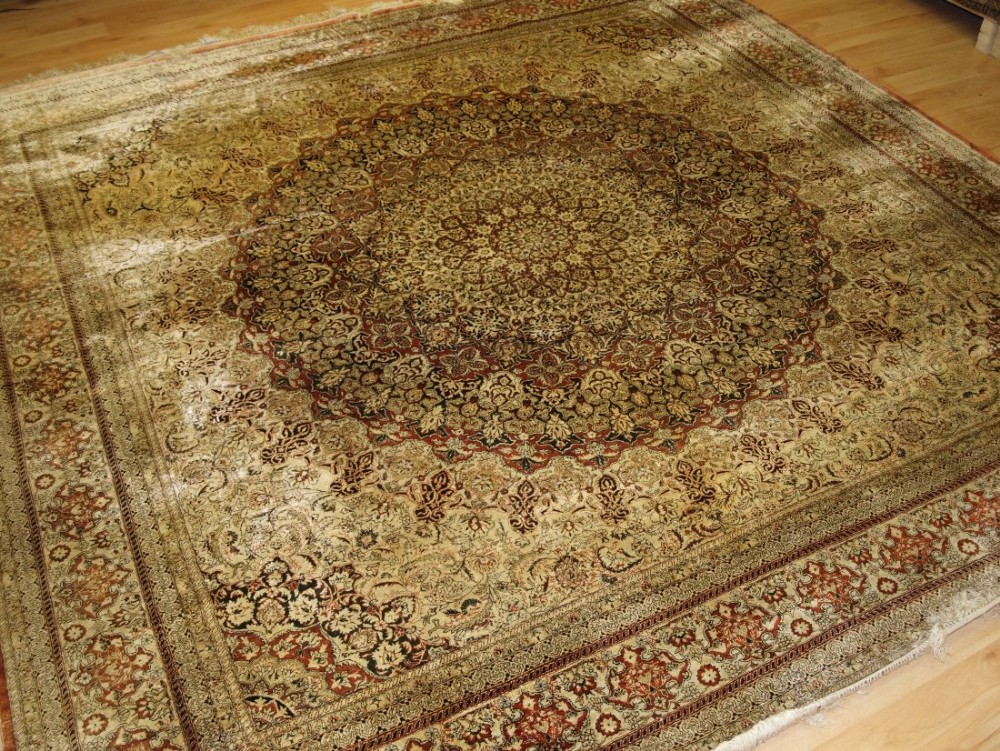fine chinese silk rug in turkish hereke style very detailed design square shape perfect condition