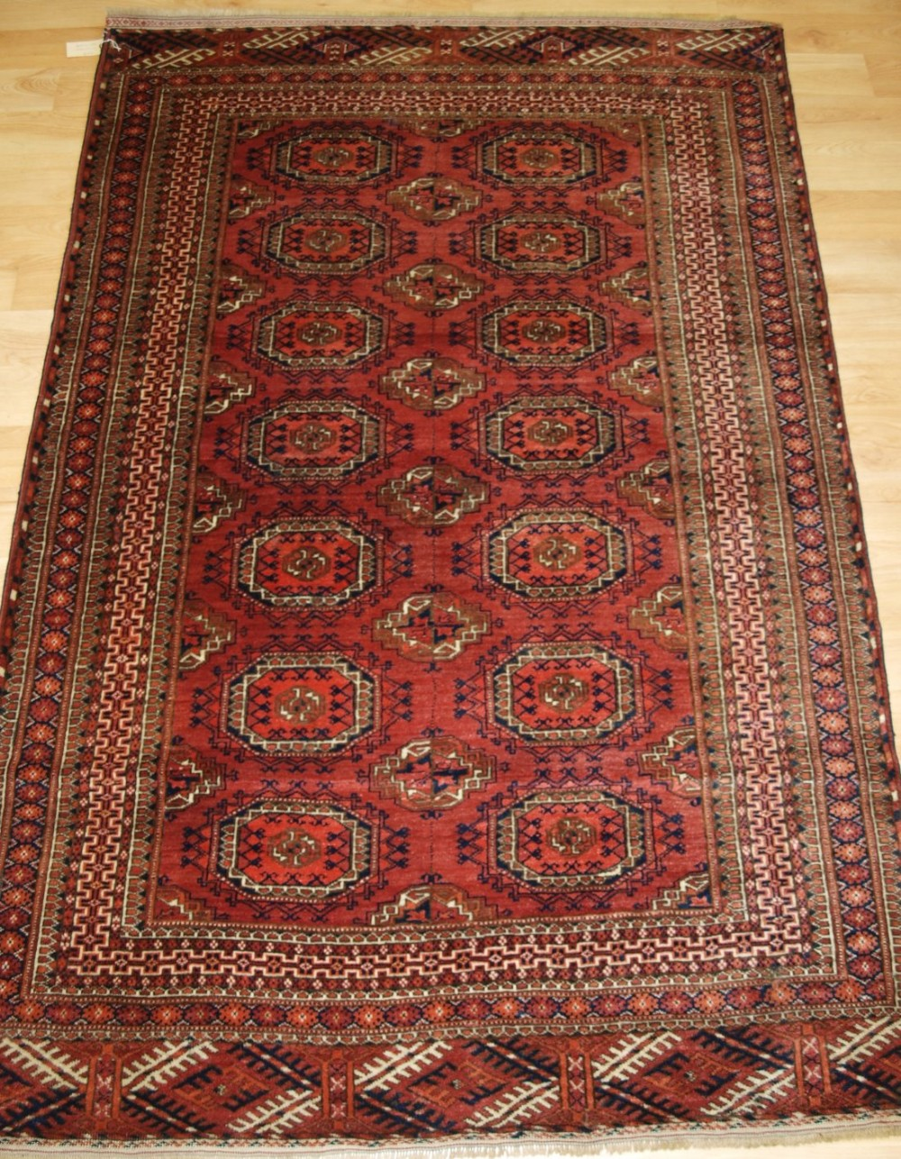 antique tekke turkmen rug salor turreted guls very fine weave velvet like pile circa 1900