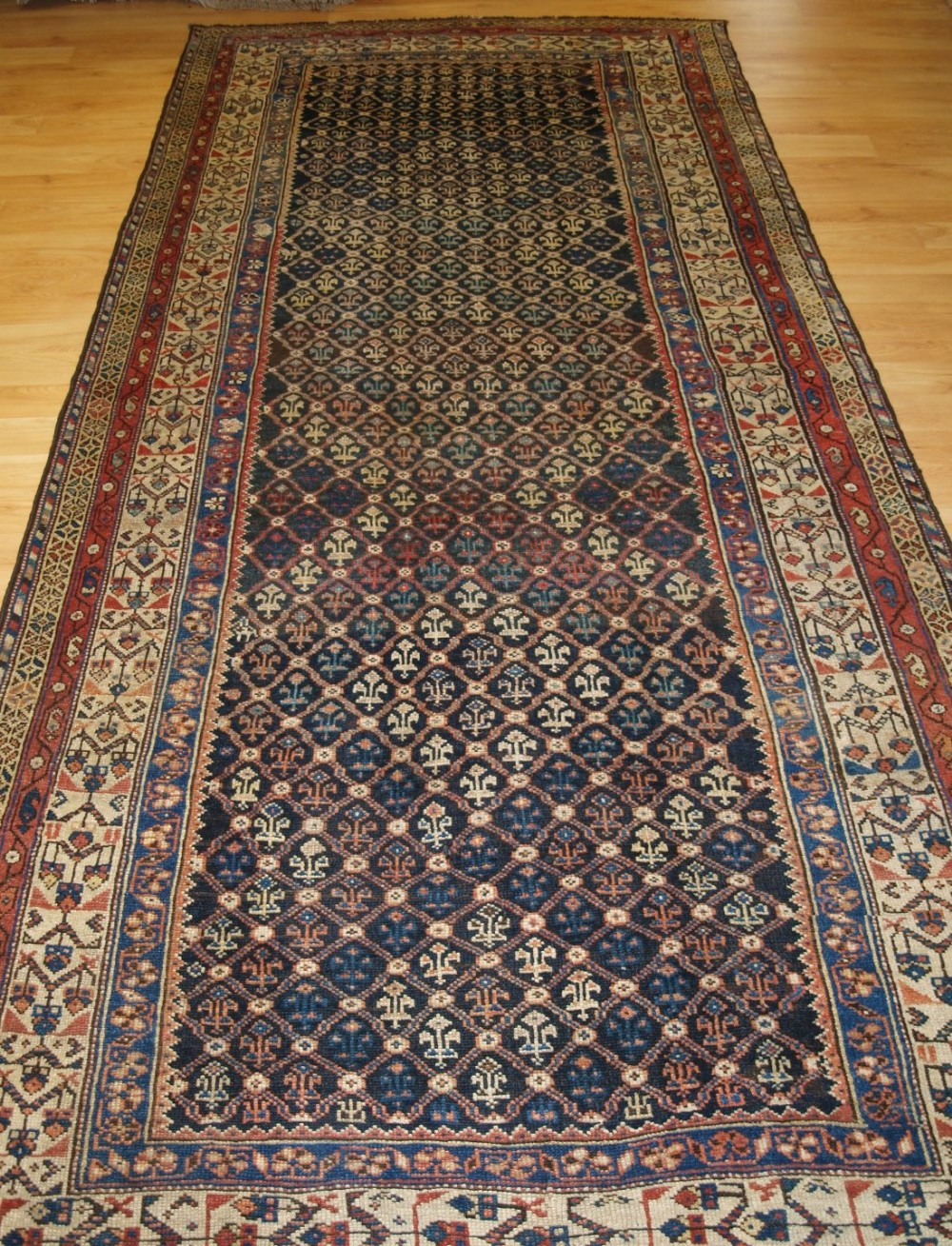antique north persian kurdish long rug or kelleh fine shrub lattice design circa 1900