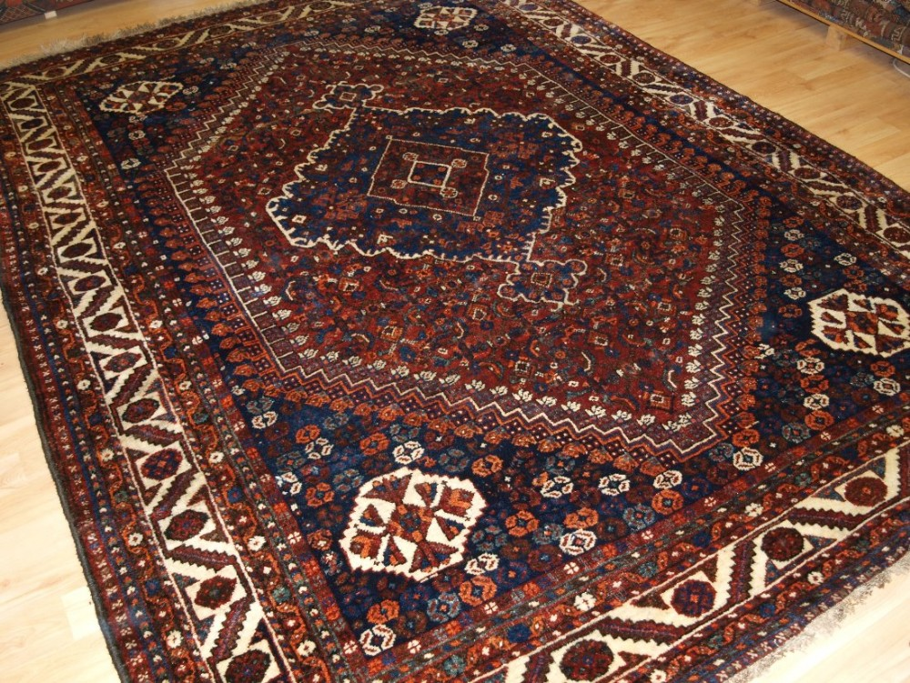 old south west persian shiraz region carpet with tribal design great condition circa 1920