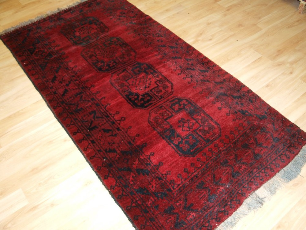 old afghan village rug traditional ersari design soft red colour hard wearing circa 1920