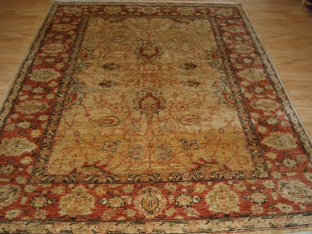 afghan ziegler design rug light colours ivory gold and terracotta about 10 years old