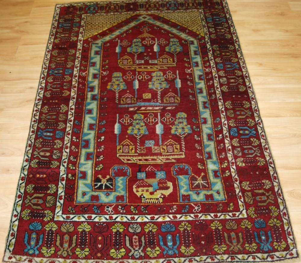 antique turkish kirsehir village prayer rug circa 1900 one of a pair 2