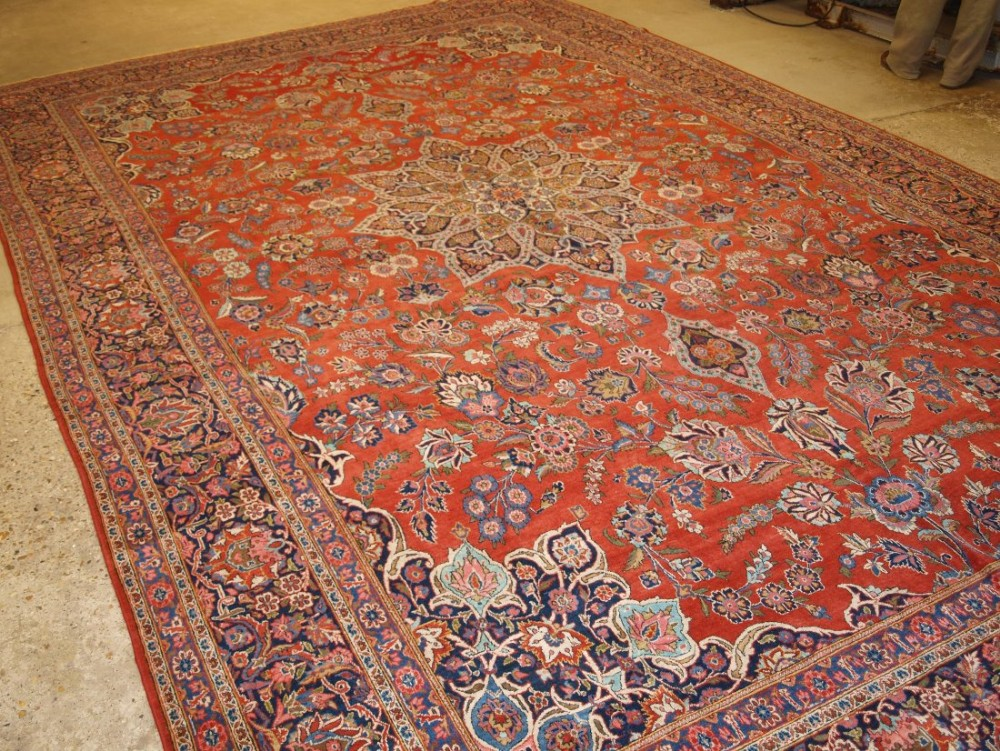 antique persian kashan carpet star medallion large size great condition circa 1920