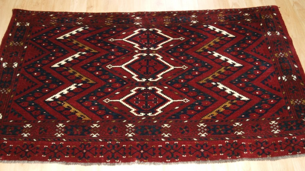 antique ersari beshir turkmen chuval with ikat design full pile circa 1900