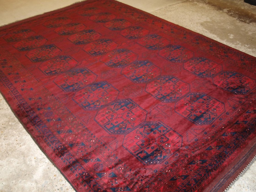 old traditional afghan ersari village carpet very deep rich red soft glossy wool colour superb condition circa 1920
