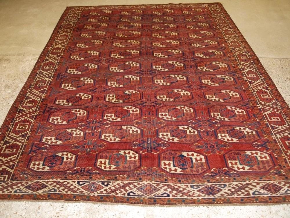 antique kizyl ayak ersari turkmen main carpet curl leaf border superb colour and drawing circa 1870