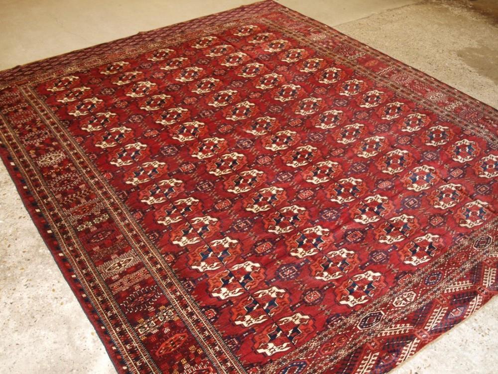 antique tekke turkmen main carpet small square size superb border design great colour circa 1880