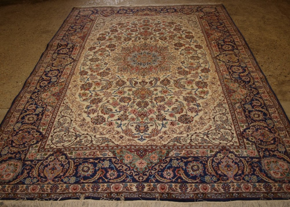 old persian isfahan carpet wool silk on a silk foundation perfect condition 40 years old
