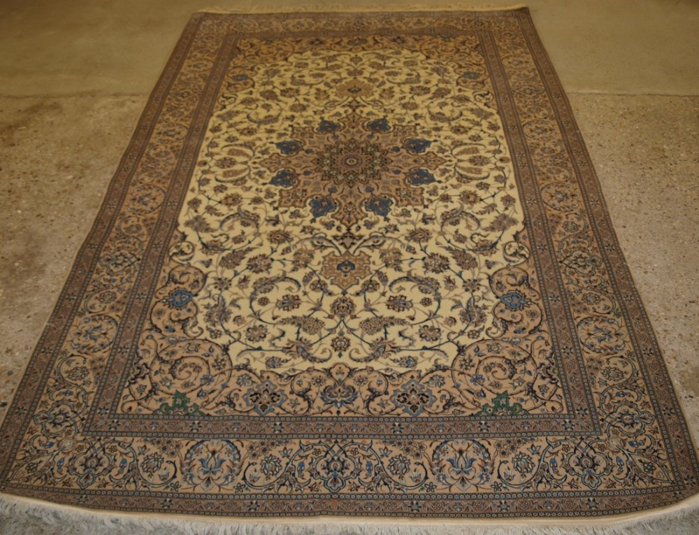 old persian nain rug wool silk on a silk foundation perfect condition 50 years old