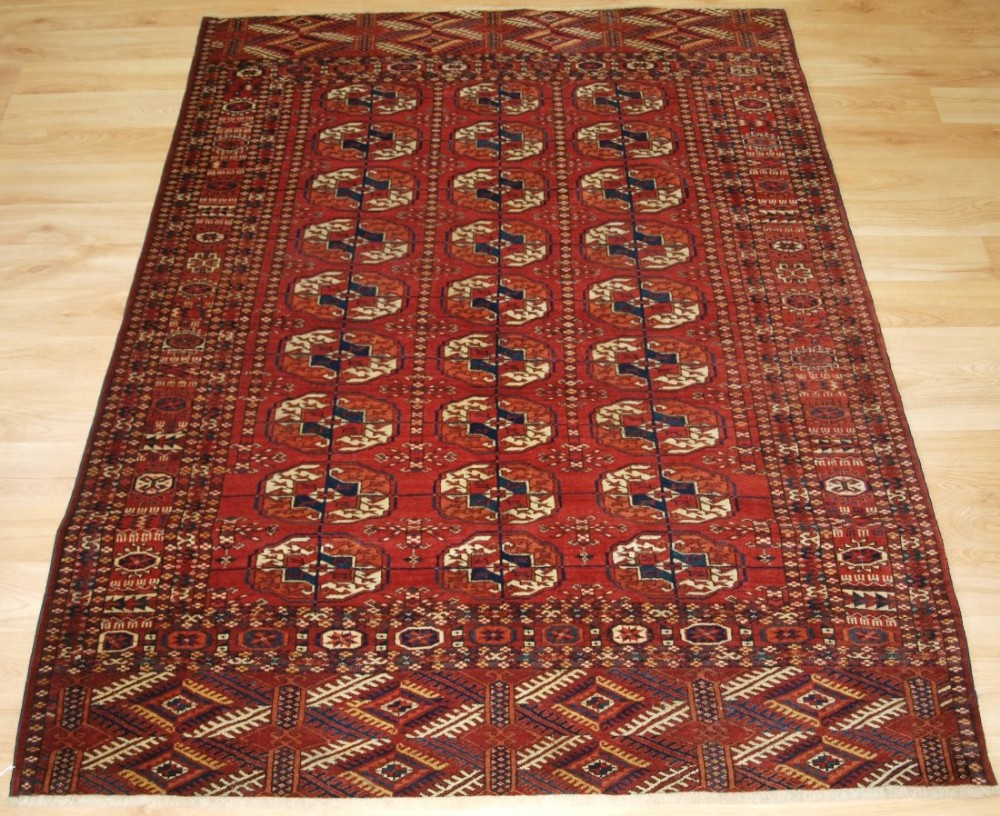 antique rug by the tekke turkmen fine weave and small size circa 1900