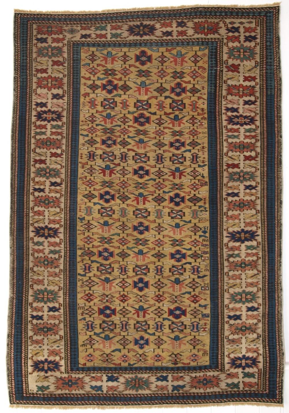 antique caucasian kuba rug with yellow ground very fine weave circa 1880