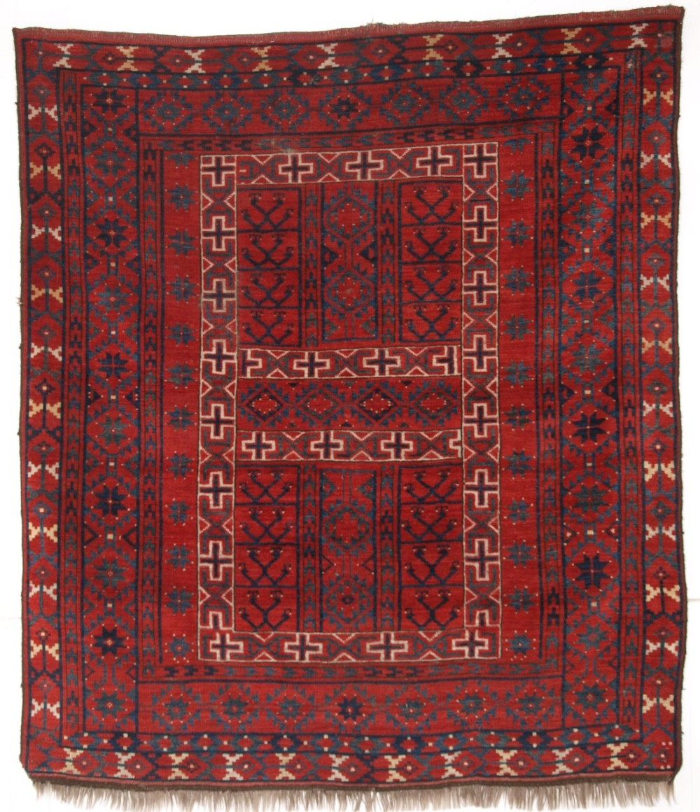 antique ersari turkmen ensi rug yurt door hanging wonderful colour 2nd half 19th century