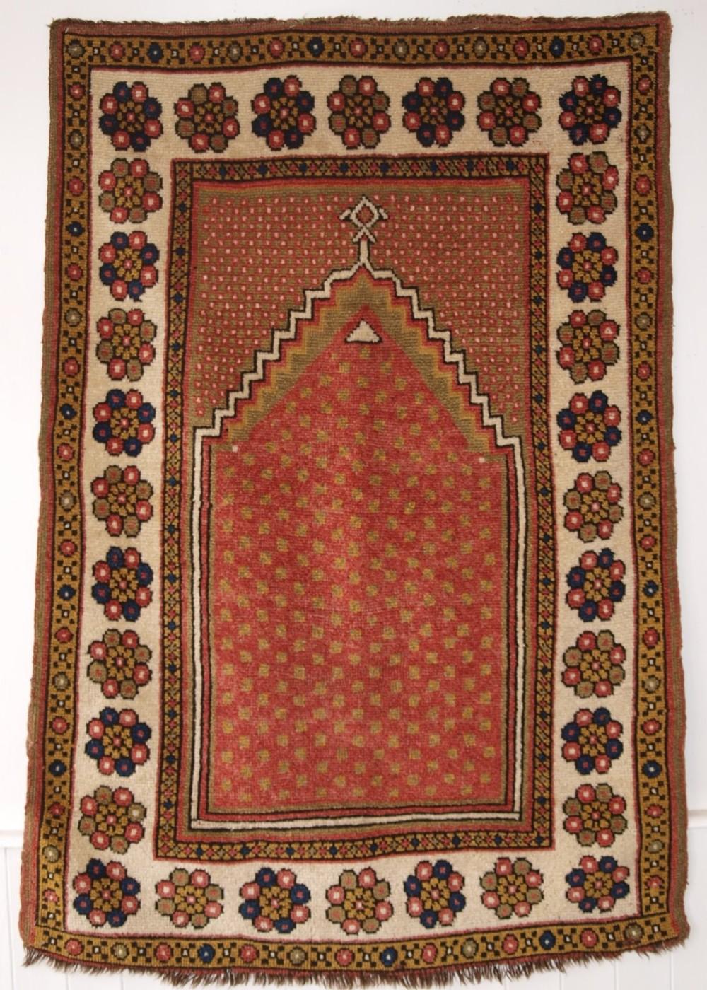antique turkish monastir prayer rug minimalistic design with soft colours circa 1900