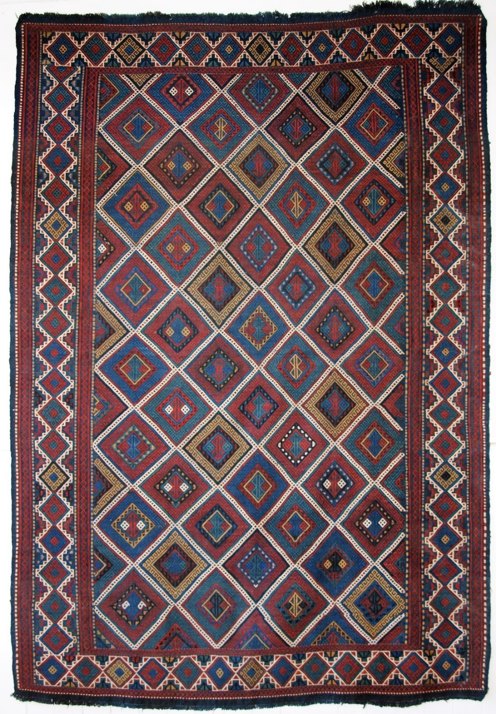 antique caucasian azeri verneh embroidered flatweave outstanding condition circa 1900