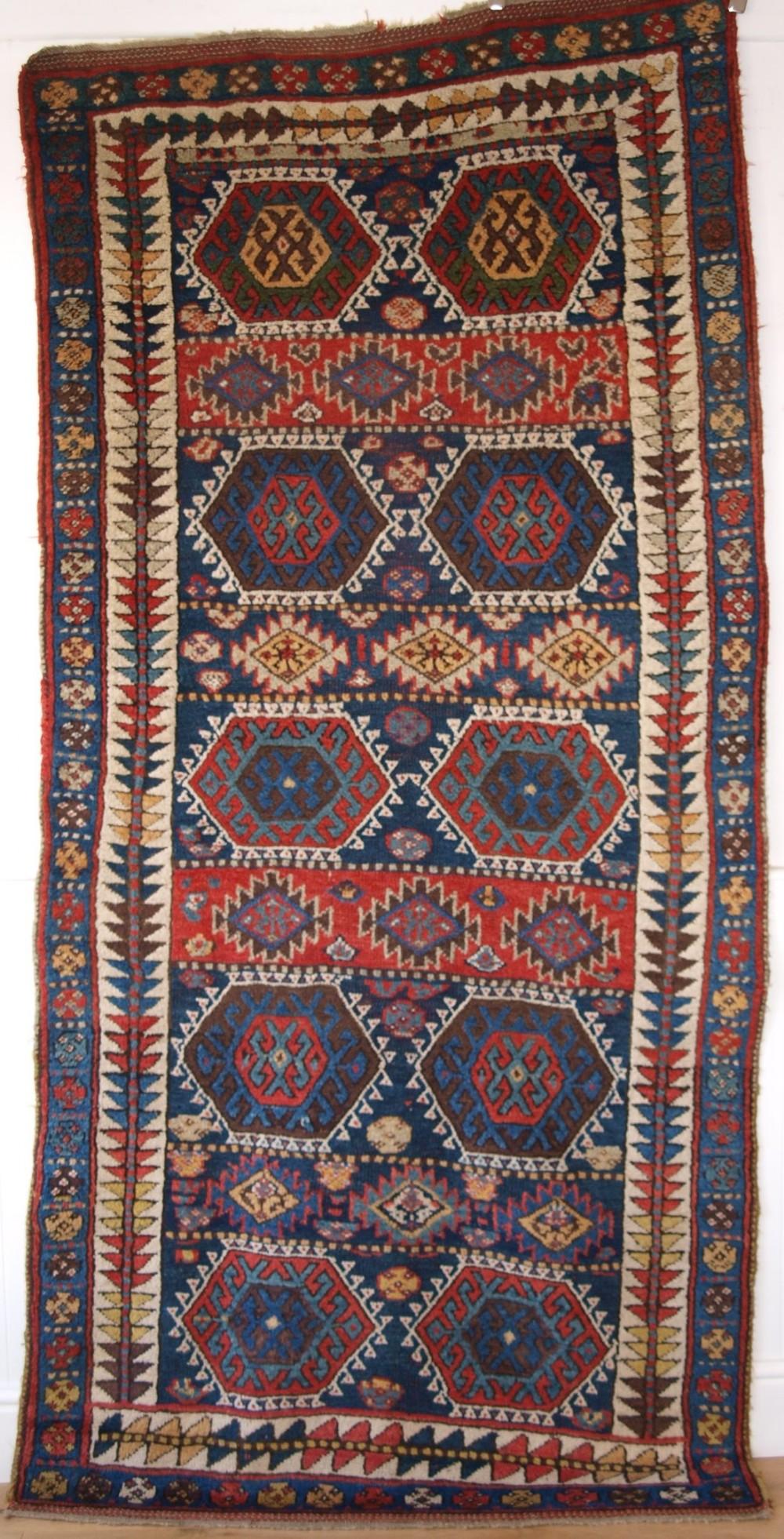 antique sanjabi kurdish long rug thick heavy pile great colours circa 1880