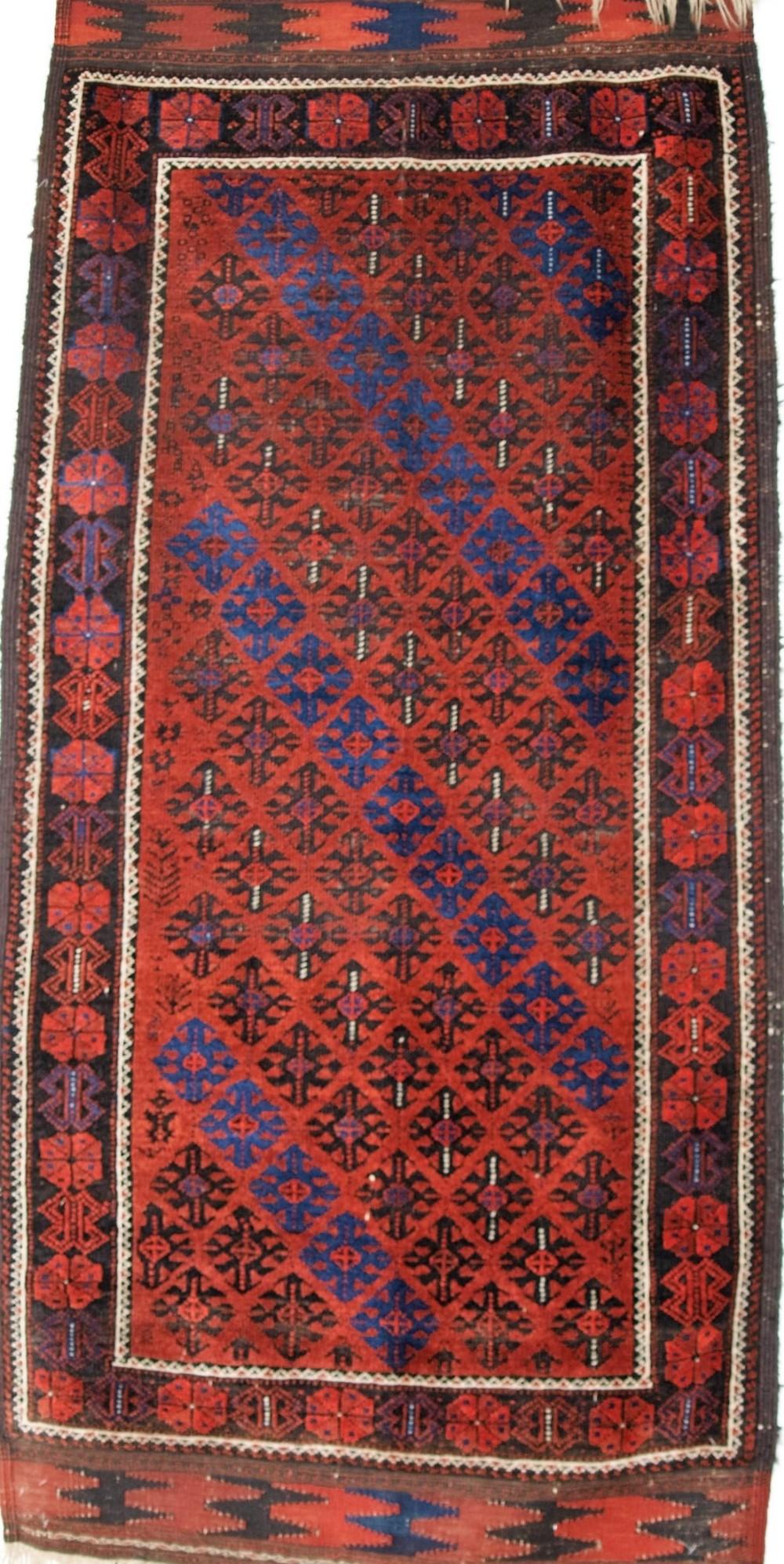 antique baluch rug lattice design superb long kilim ends circa 1880