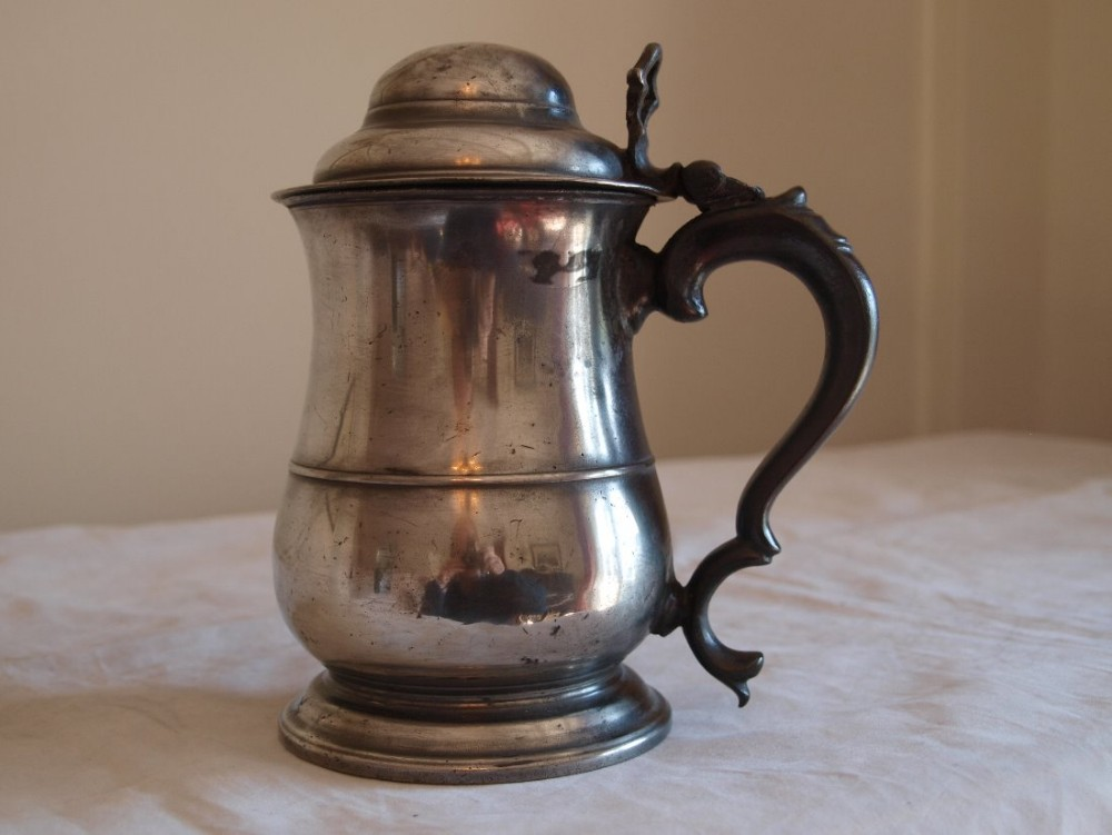 antique english pewter lidded tankard old english wine standard quart c1780