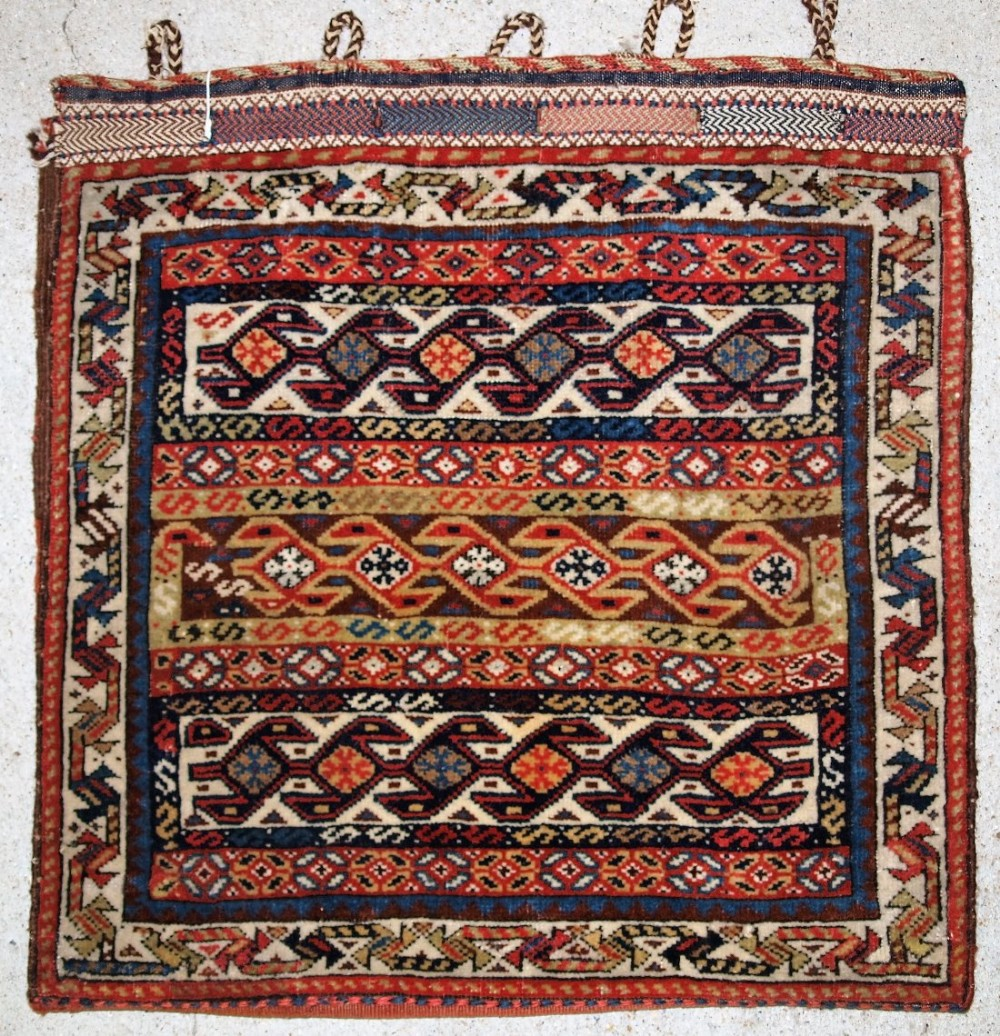 antique persian tribal qashqai bag face stunning banded design great colours plain weave back circa 1900