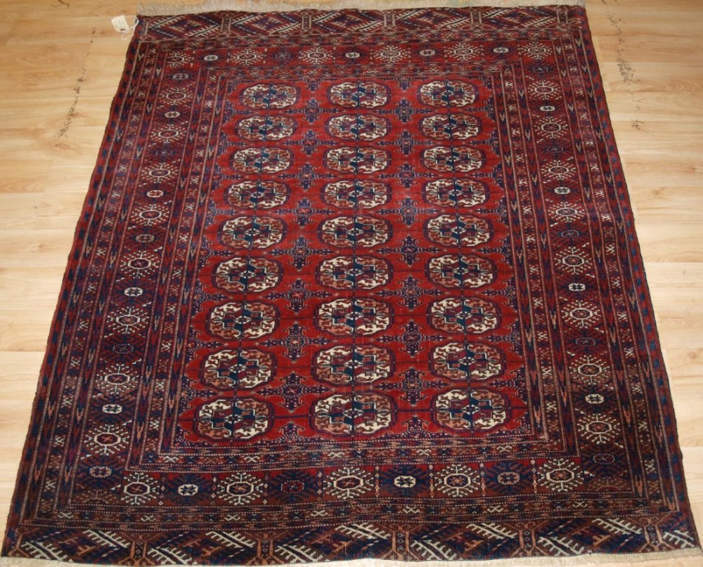 antique tekke turkmen rug small size with rich red colour circa 1900