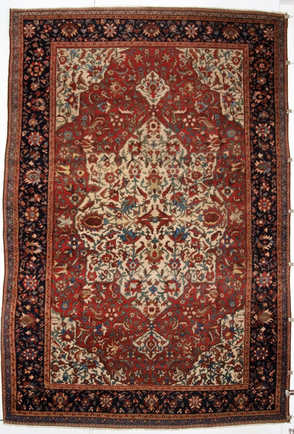 antique faraghan sarouk carpet outstanding example fine weave great colour 19th century
