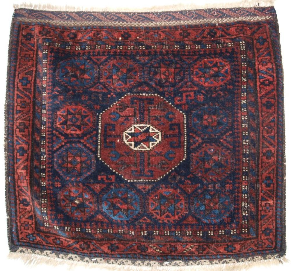 antique baluch saddle bag face 'star in octagon design' scarce small size circa 1880