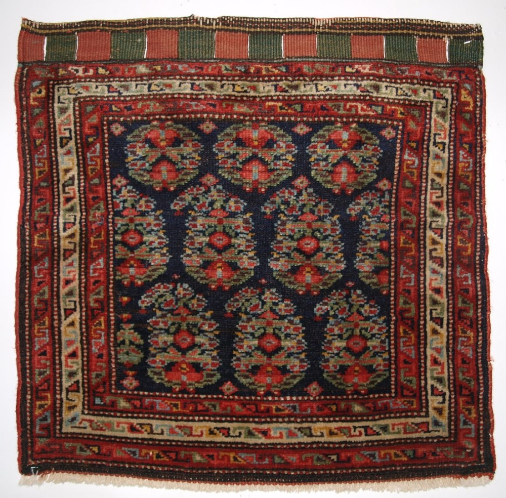 antique north west persian kurdish bagface with floral boteh design circa 1900