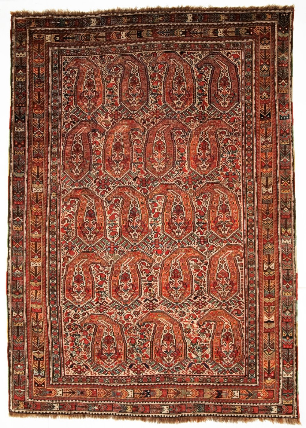 antique nomadic tribal khamseh rug with boteh design circa 1880