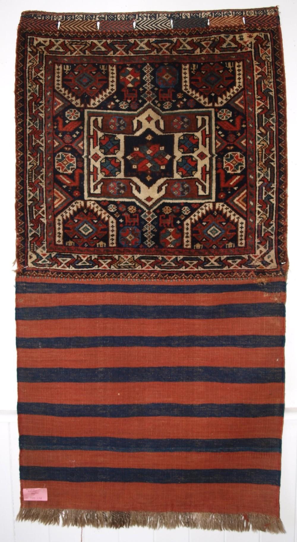 antique south west persian saddle bag with plain weave back khamseh tribe circa 1900
