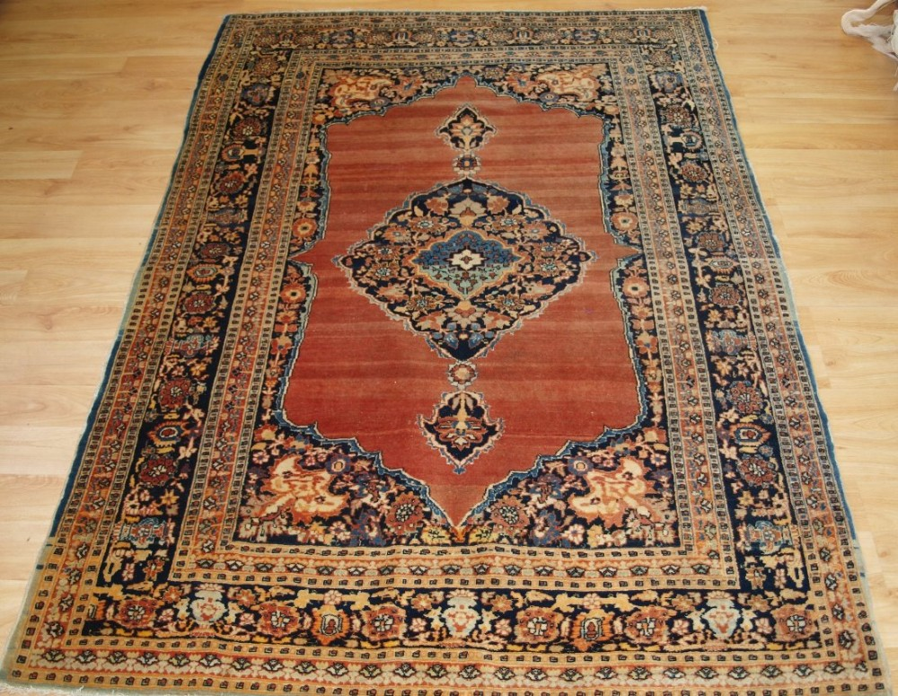 antique persian tabriz rug of classic design and outstanding colour circa 1900