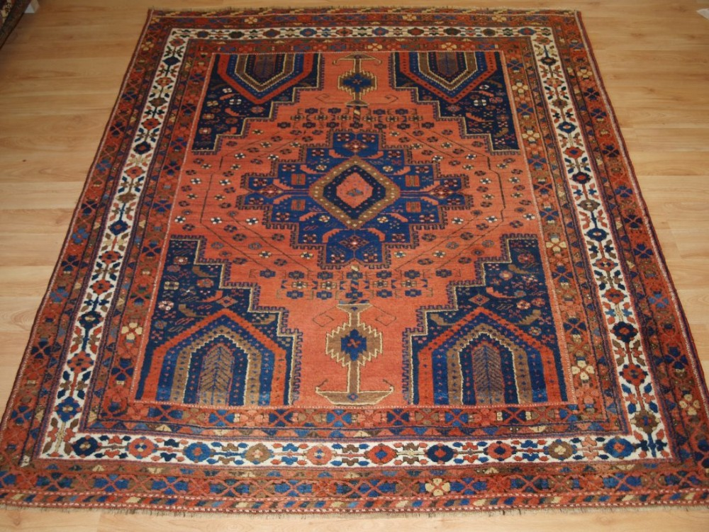 antique persian afshar neriz rug with vase design superb colour condition circa 1900