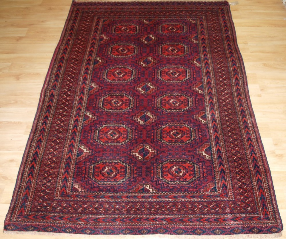 antique tekke turkmen rug salor turreted guls fine weave cochineal dye circa 1890
