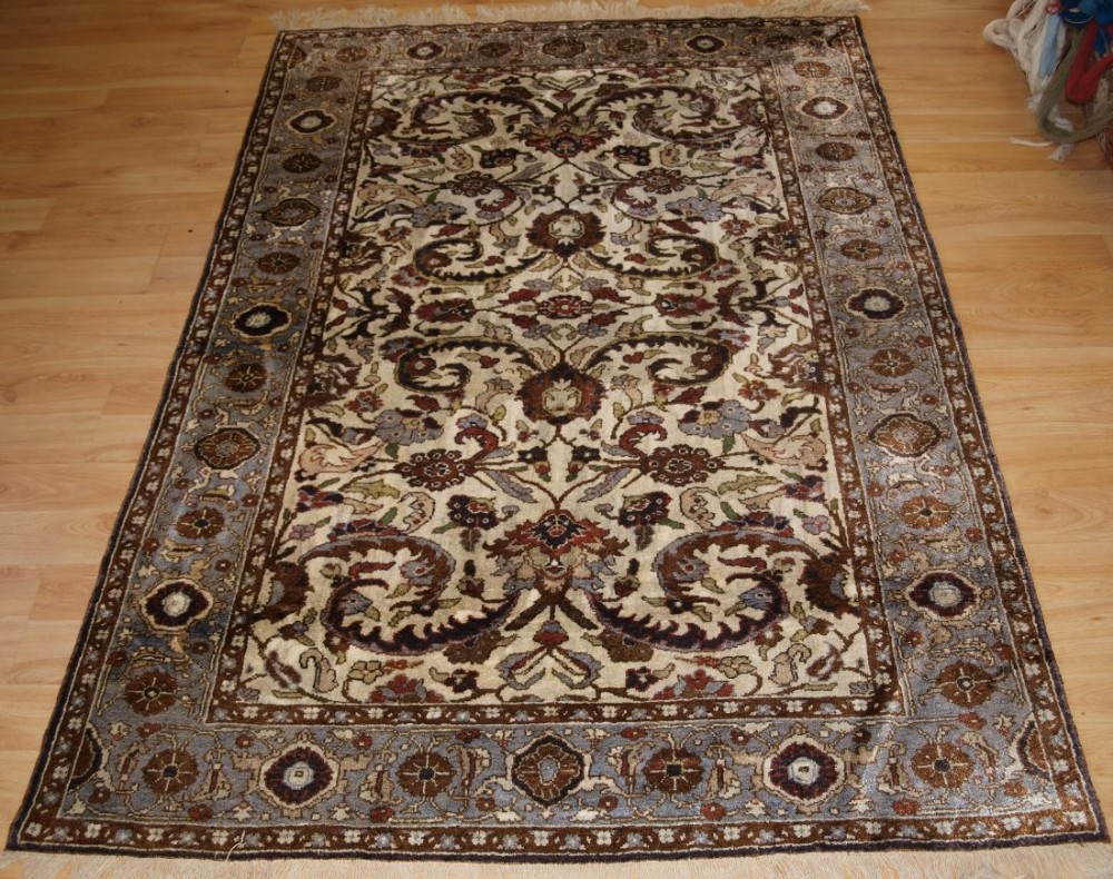 old silk rug with classic persian mahal design circa 1920