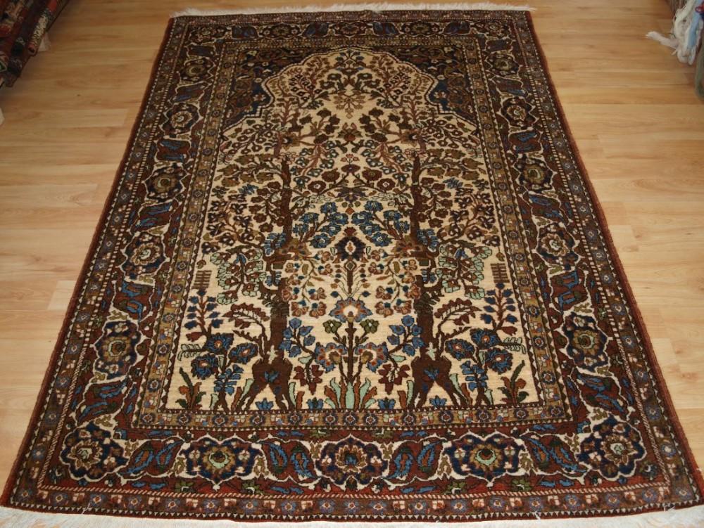 Old persian isfahan prayer rug of floral garden design for Garden design 1920 s