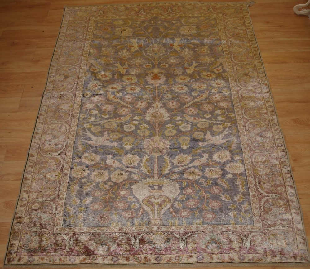 antique turkish kayseri silk rug floral design with birds late 19th century